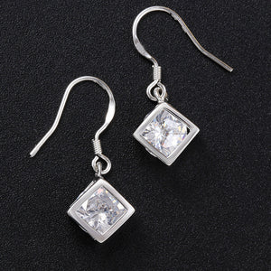 Swarovski Crystal Cube Drop Earring in 18K White Gold Plated