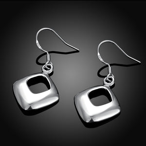 Geometric Drop Earring in 18K White Gold Plated