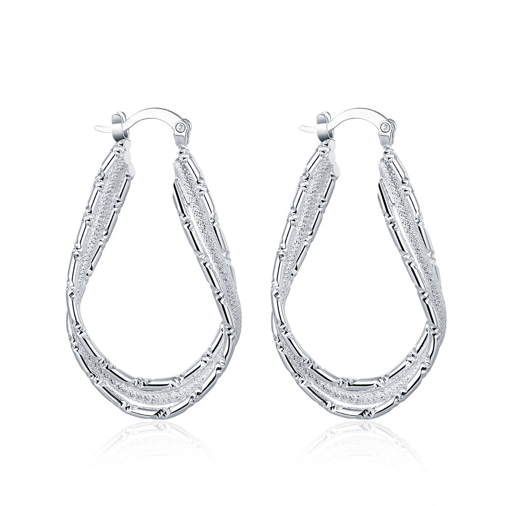 Double Layer Hoop Earring in 18K White Gold Plated