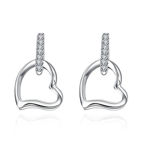 Swarovski Crystal Heart Stud Earring in 18K White Gold Plated
