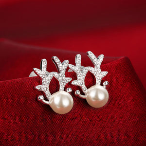 Swarovski Crystal Reindeer Stud Earring in 18K White Gold Plated