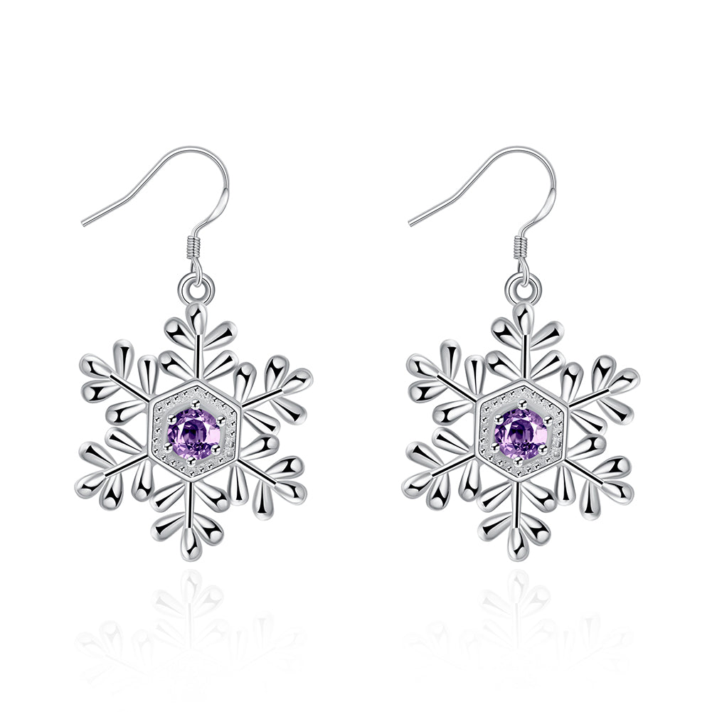 Swarovski Crystal Amethyst Snowflake Drop Earring in 18K White Gold Plated