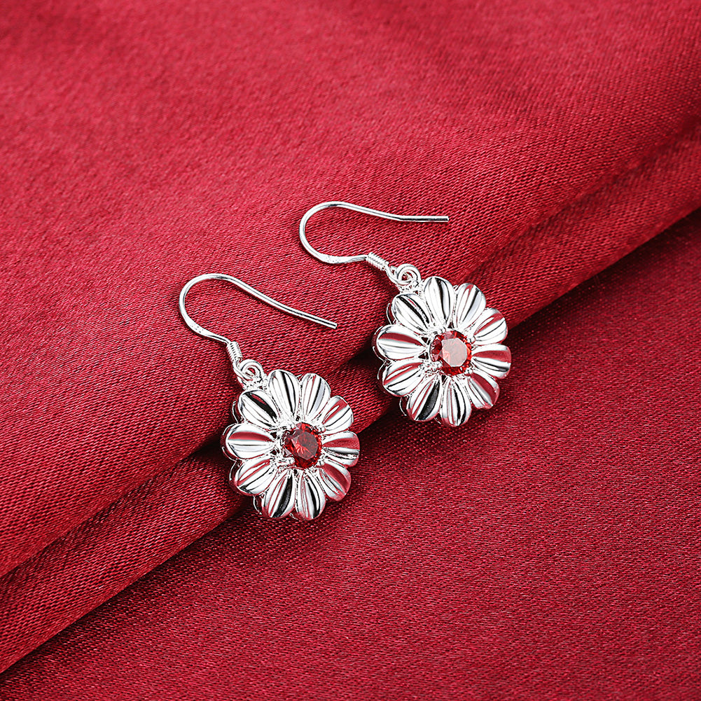 Austrian Crystal Ruby Red Stud Earring in 18K White Gold Plated