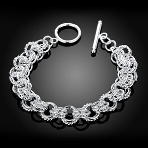 Silver Duo Mesh Knot Toggle Clasp Bracelet