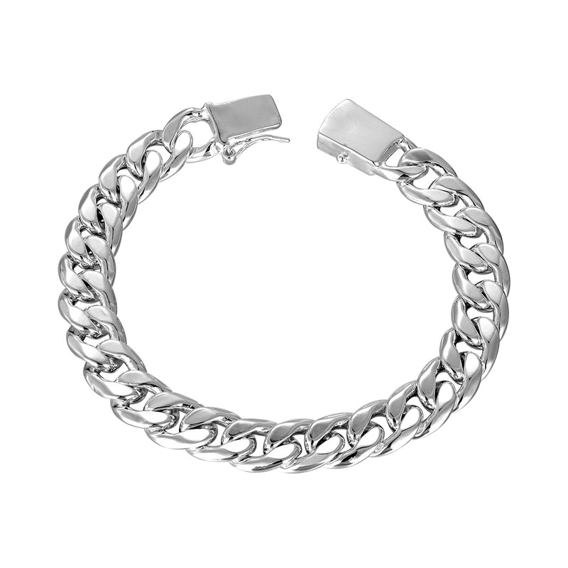 Laser Cut Chain Bracelet in 18K White Gold Plated