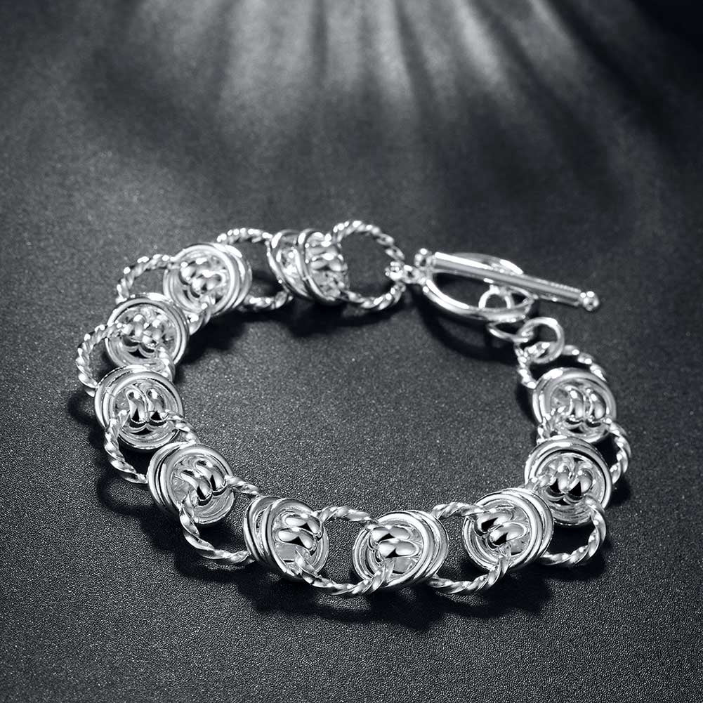 Silver Mesh Knot Toggle Clasp Bracelet