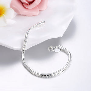 Snake Chain Bracelet in 18K White Gold Plated