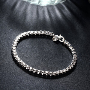 BOX Chain Bracelet in 18K White Gold Plated, Bracelet, Golden NYC Jewelry, Golden NYC Jewelry  jewelryjewelry deals, swarovski crystal jewelry, groupon jewelry,, jewelry for mom,