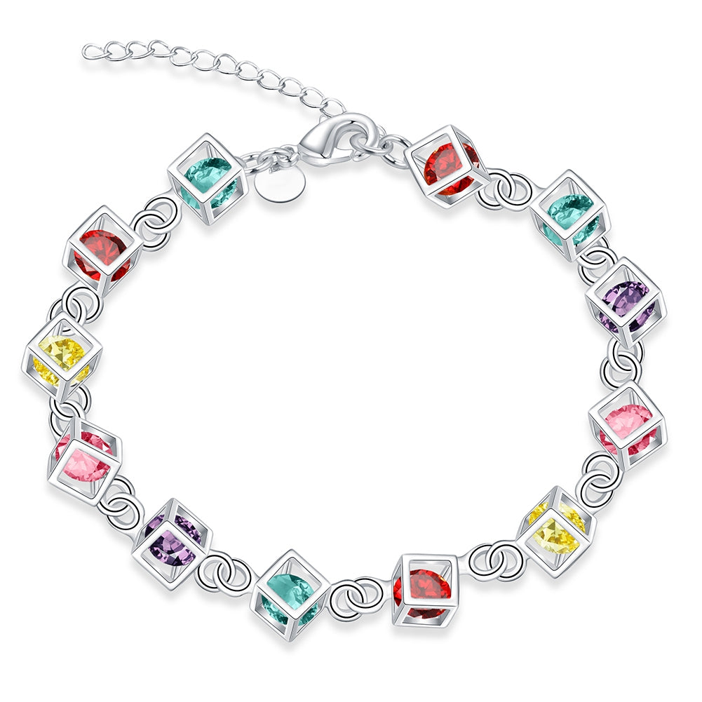 Rainbow Rubix Cube Austrian Elements Bracelet in 18K White Gold