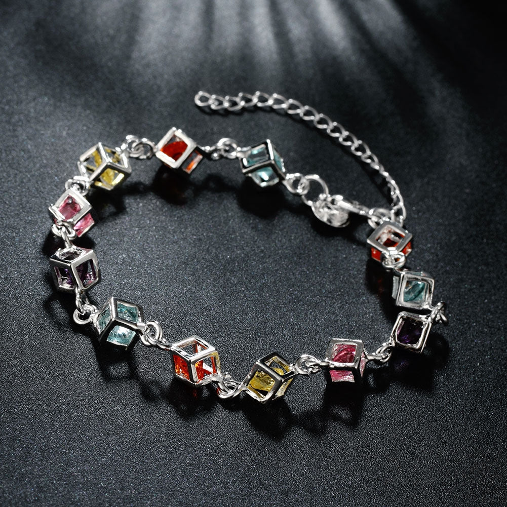 Rainbow Rubix Cube Swarovski Elements Bracelet in 18K White Gold