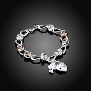 Two Tone Bracelet in 18K White Gold Plated
