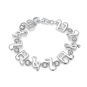 Musical Notes Bracelet in 18K White Gold Plated