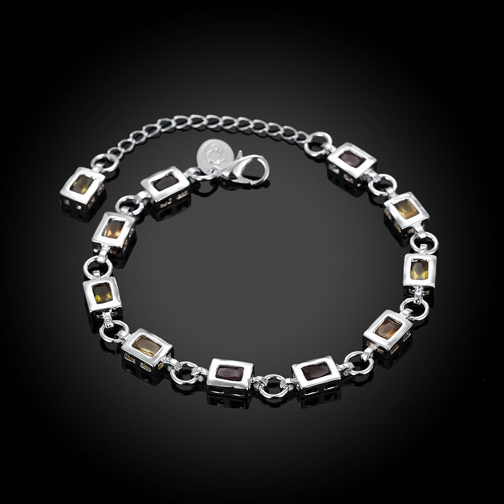 Rainbow Austrian Square Cut Bracelet in 18K White Gold