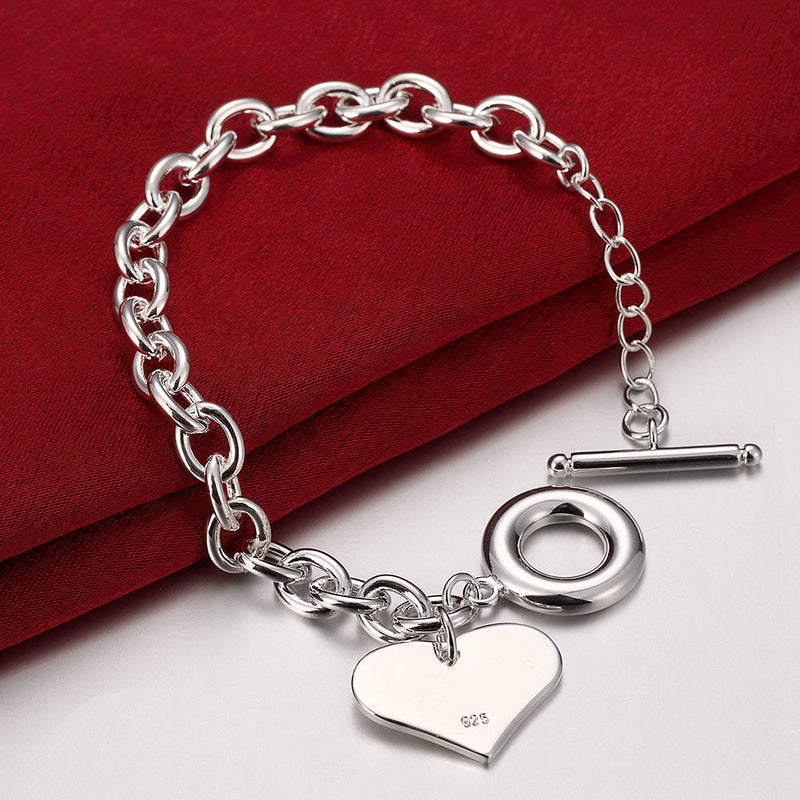 The Classic Heart Gal Bracelet in 18K White Gold Plated
