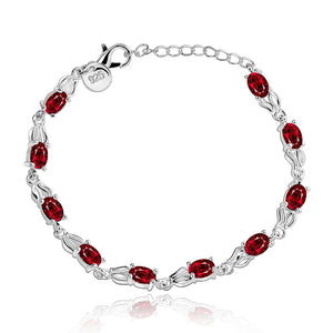 Red Austrian Multi-Gems Bracelet in 18K White Gold