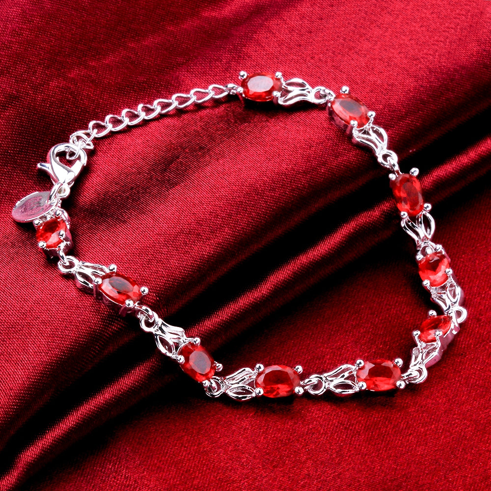 Red Swarovski Multi-Gems Bracelet in 18K White Gold