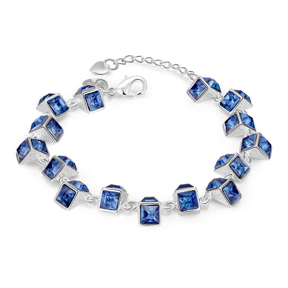 Multi Blue Austrian Cubed Bracelet in 18K White Gold