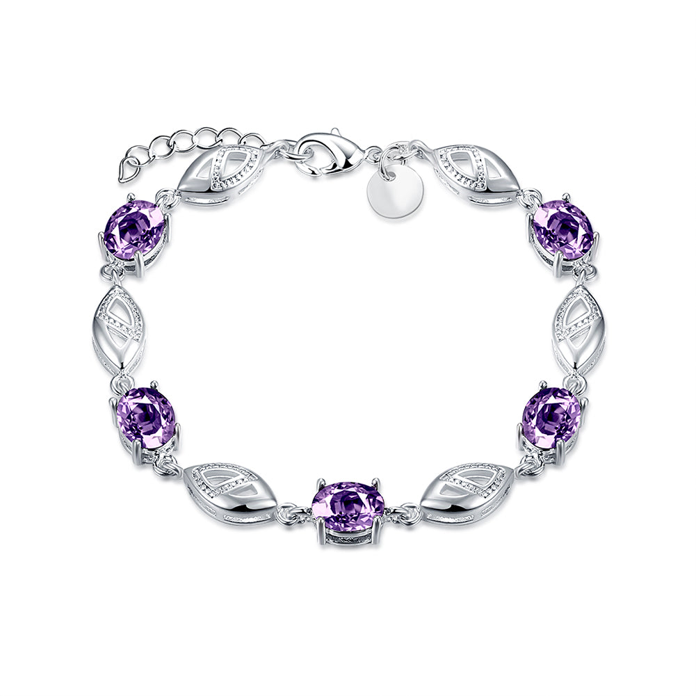 Purple Austrian Oval Cut Bracelet in 18K White Gold