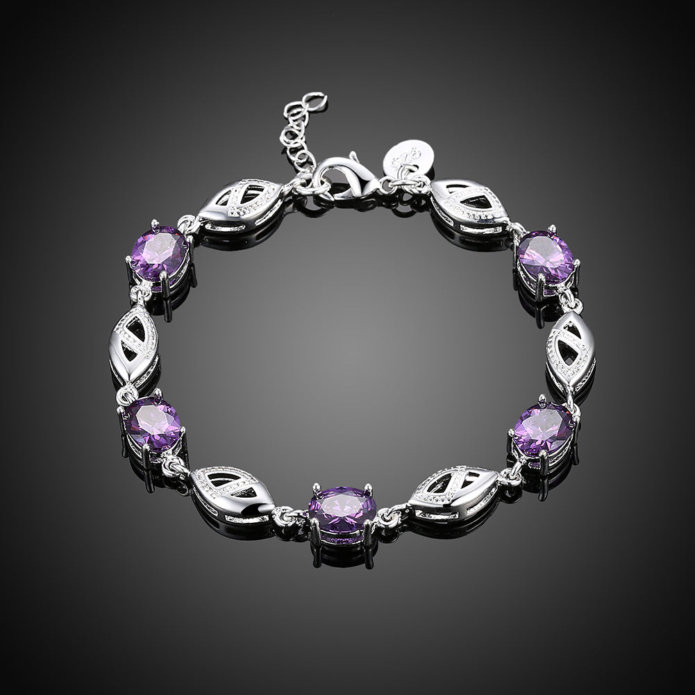 Purple Swarovski Oval Cut Bracelet in 18K White Gold
