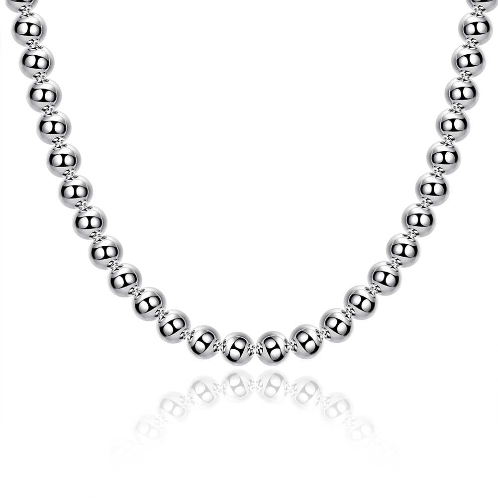 "10mm Ball Necklace in 18K White Gold Plated 20"", , Golden NYC Jewelry, Golden NYC Jewelry  jewelryjewelry deals, swarovski crystal jewelry, groupon jewelry,, jewelry for mom,"
