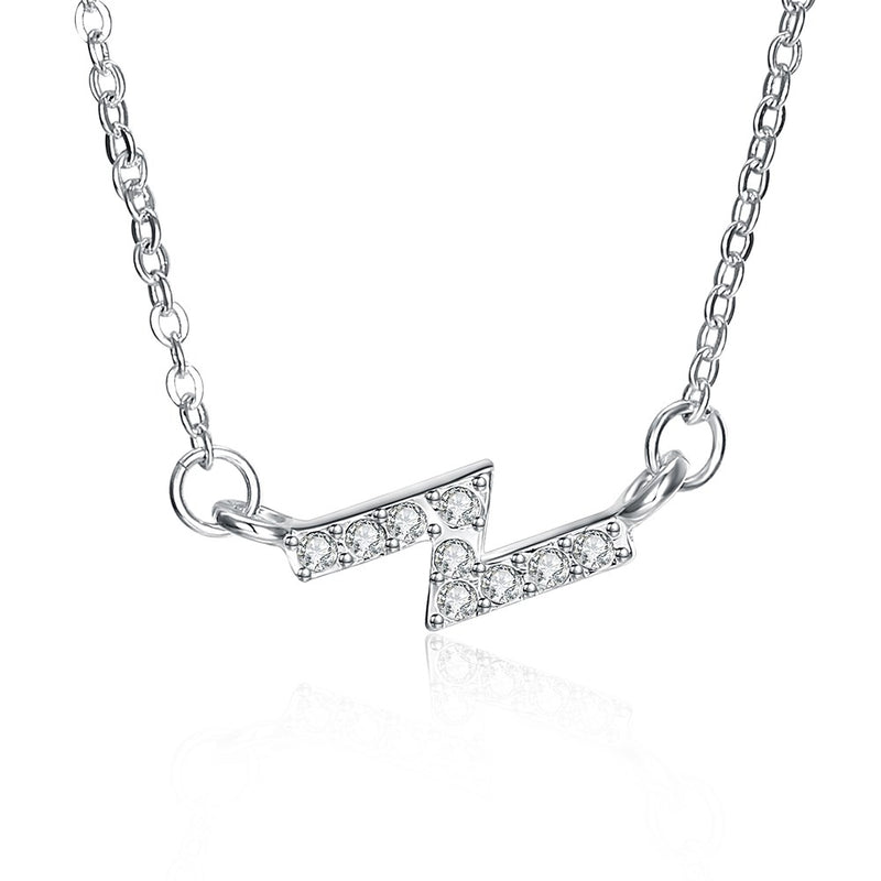 Z Zig Zag Necklace in 18K White Gold Plated
