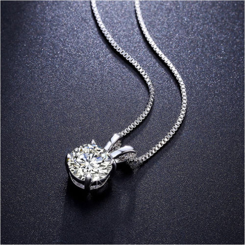Solitaire Swarovski Crystal Princess Necklace in 18K White Gold