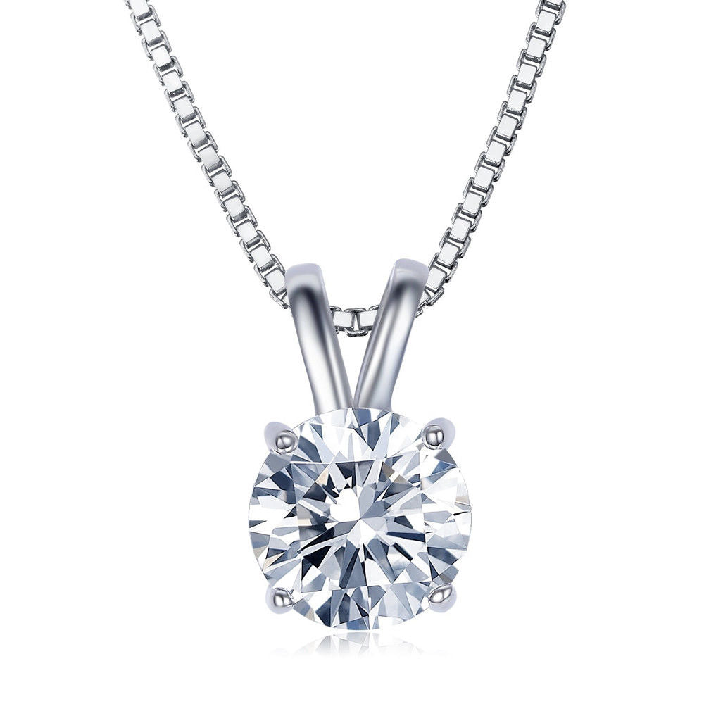 2.00 Ct Diamond Created Necklace in 18K White Gold Plated, Necklace, Golden NYC Jewelry, Golden NYC Jewelry  jewelryjewelry deals, swarovski crystal jewelry, groupon jewelry,, jewelry for mom,