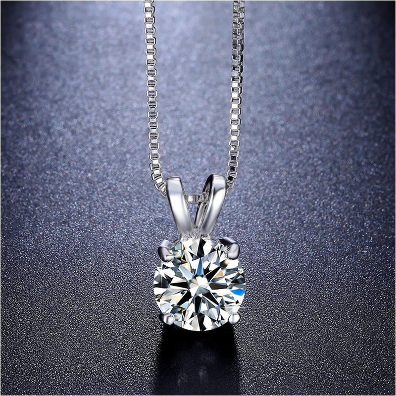 Solitaire Austrian Crystal Princess Necklace in 18K White Gold