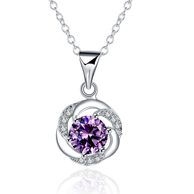 Amethyst Curved Pav'e Necklace Gemstone, Necklaces, Golden NYC Jewelry, Golden NYC Jewelry  jewelryjewelry deals, swarovski crystal jewelry, groupon jewelry,, jewelry for mom,