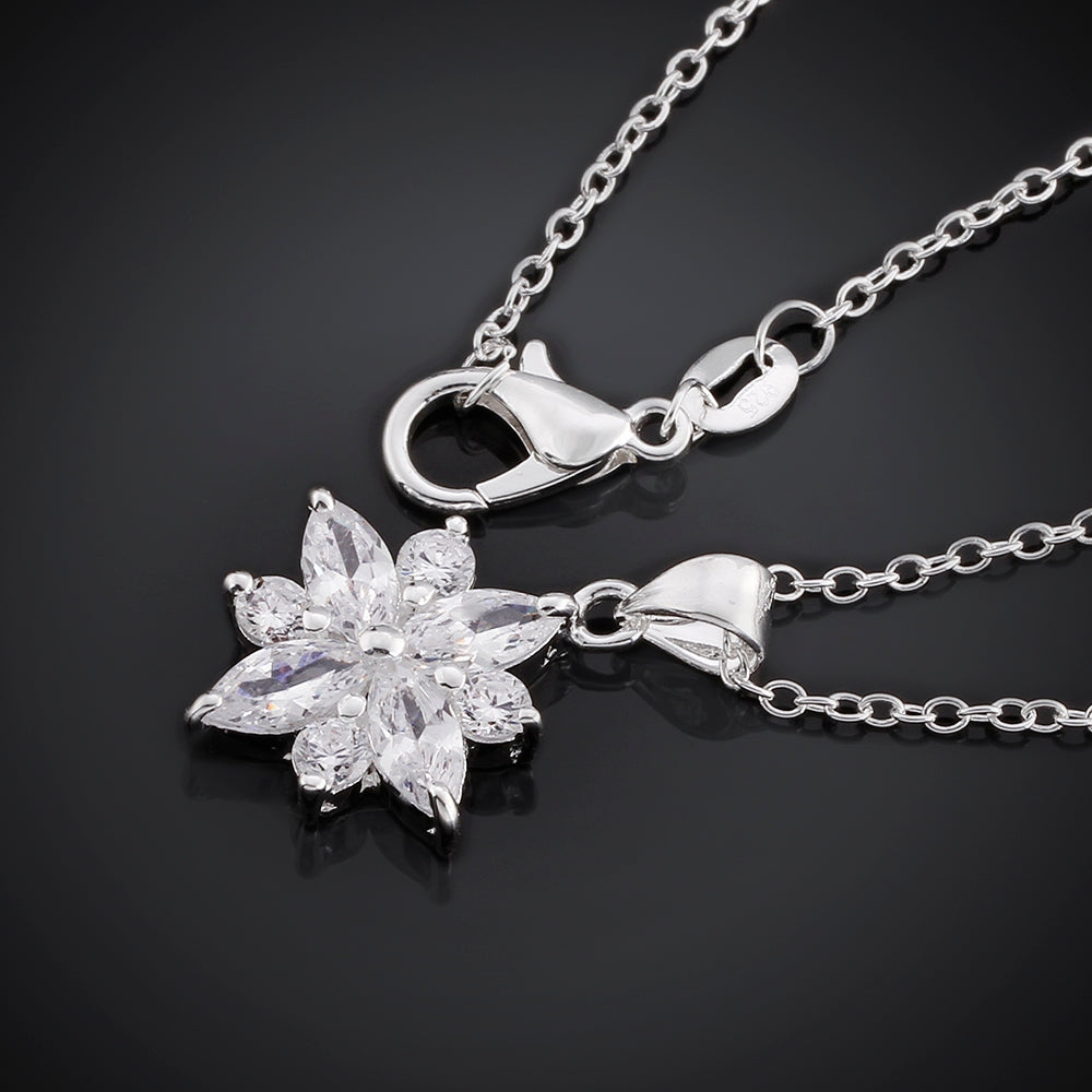 5.00 Ct Leaf Necklace in 18K White Gold Plated, Necklace, Golden NYC Jewelry, Golden NYC Jewelry  jewelryjewelry deals, swarovski crystal jewelry, groupon jewelry,, jewelry for mom,