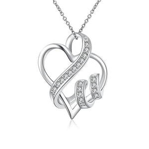 Intertwined Hearts Necklace with Austrian Elements in 18K White Gold