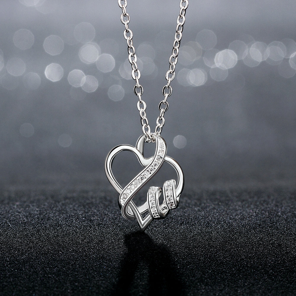 I LOVE YOU Necklace in 18K White Gold Plated