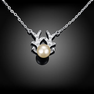 Natural Pearl Reindeer Necklace in 18K White Gold Plated