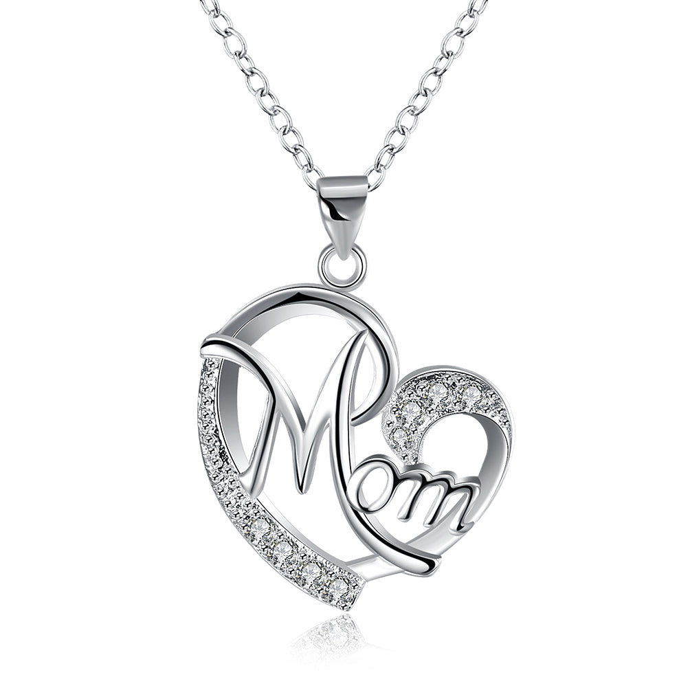 MOM Heart Necklace Embellished with Swarovski Crystals in 18K White Gold Plated