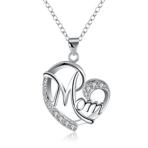 MOM Heart Necklace Embellished with Austrian Crystals in 18K White Gold Plated
