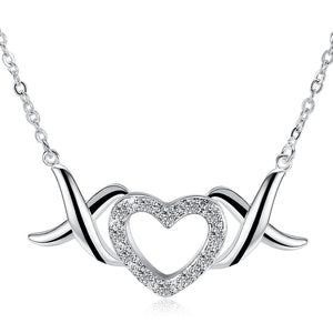 XOX Heart Necklace in 18K White Gold Plated