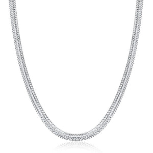 Omega Herringbone Necklace in 18K White Gold