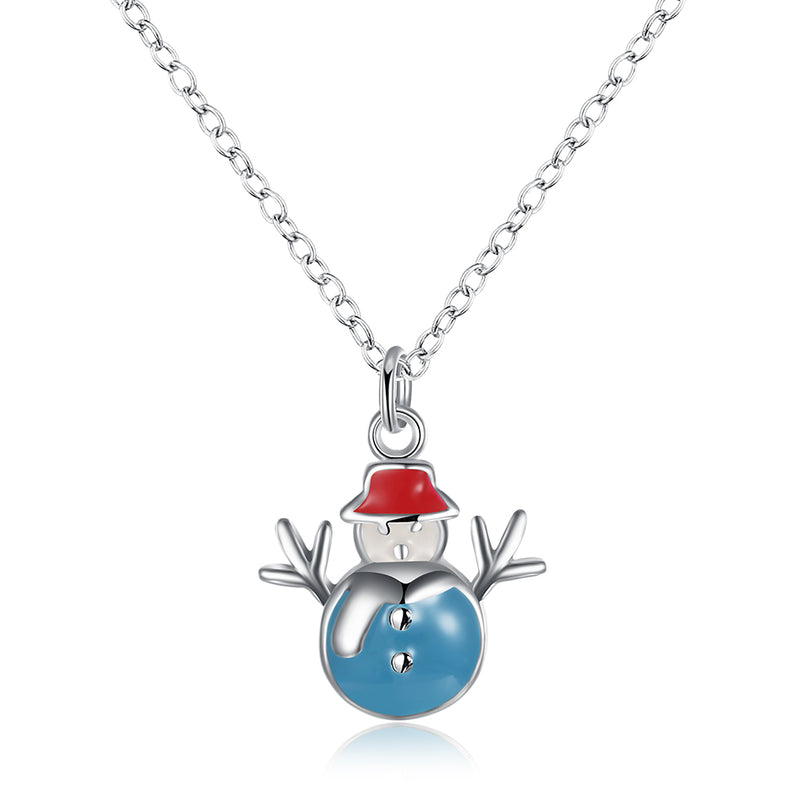 Snowman Christmas Inspired Necklace in 18K White Gold Plated