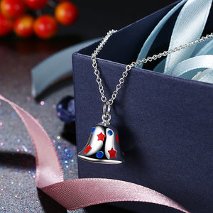 Bell Christmas Inspired Necklace in 18K White Gold Plated, Necklace, Golden NYC Jewelry, Golden NYC Jewelry  jewelryjewelry deals, swarovski crystal jewelry, groupon jewelry,, jewelry for mom,