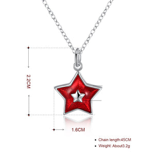 Red Star Christmas Inspired Necklace in 18K White Gold Plated