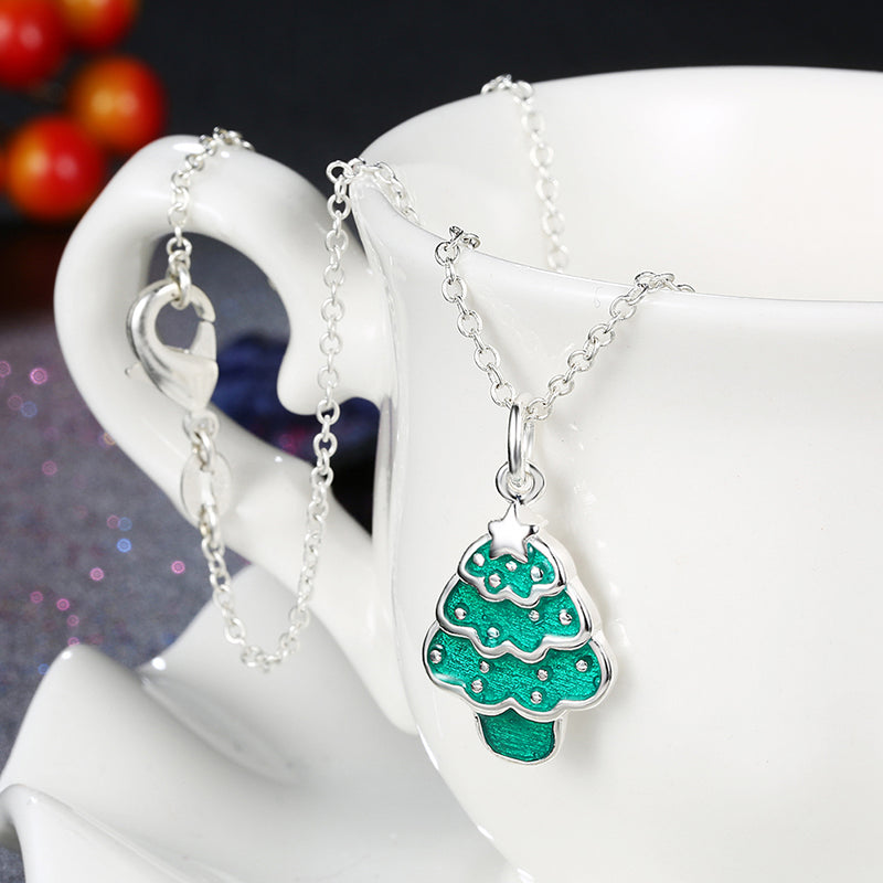 Tree Christmas Inspired Necklace in 18K White Gold Plated