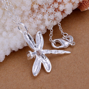 Dragonfly Necklace in 18K White Gold Plated