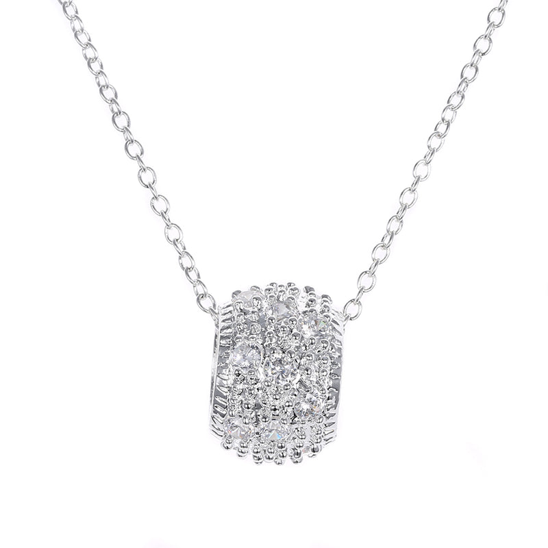 Pave Necklace in 18K White Gold Plated