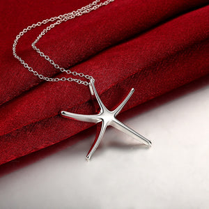 Starfish Necklace in 18K White Gold Plated