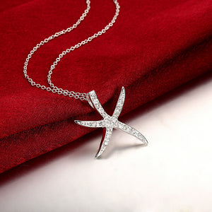 Starfish Pave Necklace in 18K White Gold Plated