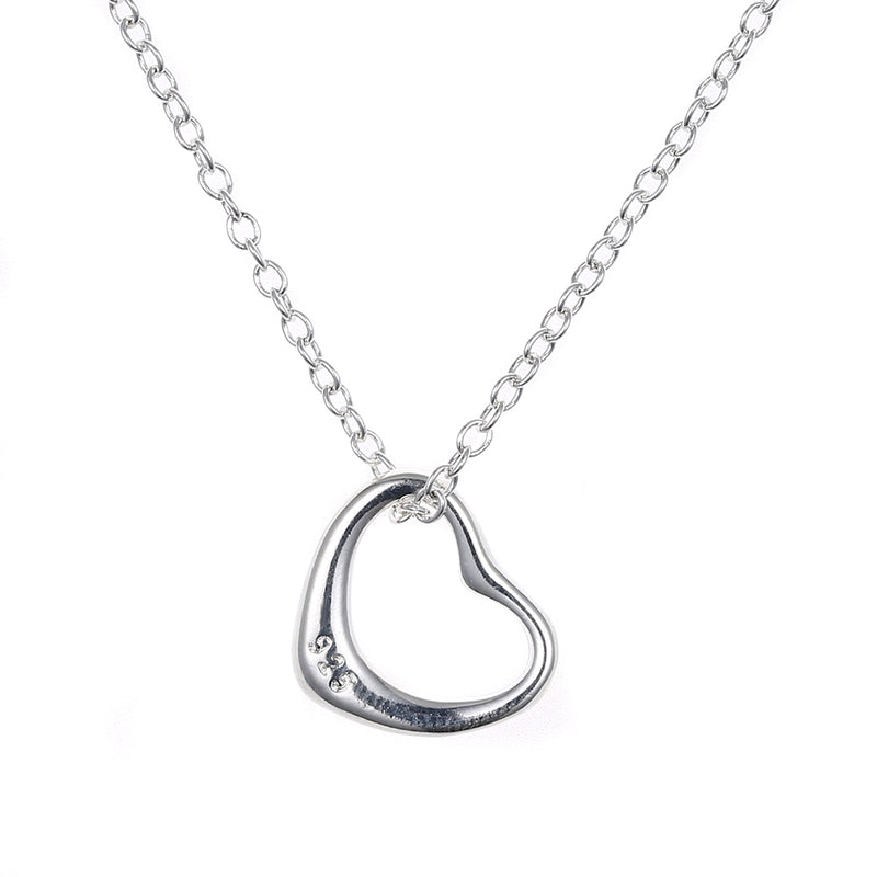 Simple Heart Necklace in 18K White Gold Plated