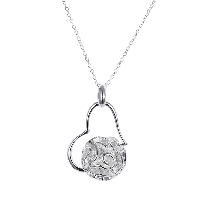 Heart with Coral Necklace in 18K White Gold Plated