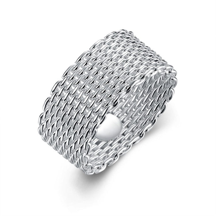 Sterling Silver Plated Woven Mesh Ring - Golden NYC Jewelry www.goldennycjewelry.com fashion jewelry for women