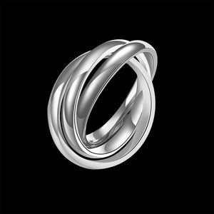 18k White Gold Bands Stainless Steel Rolling Ring - Golden NYC Jewelry