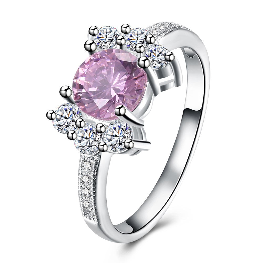 Pink Sapphire Curved Cocktail Pav'e Ring